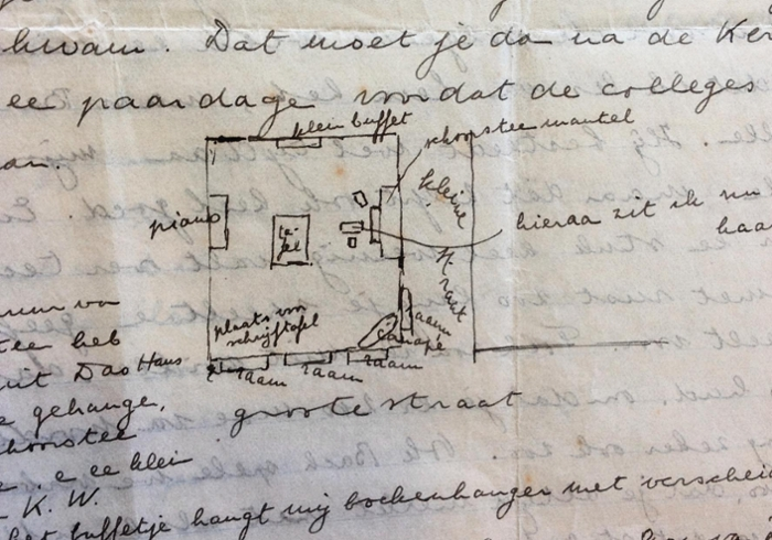 A letter from Oort to his brother Hein, with a sketch and description of his room in Groningen. '[...] so that you can imagine how fine it would be if we were to sit together here when you came to visit,' he writes to his brother. (Photo: Oort Archives)
