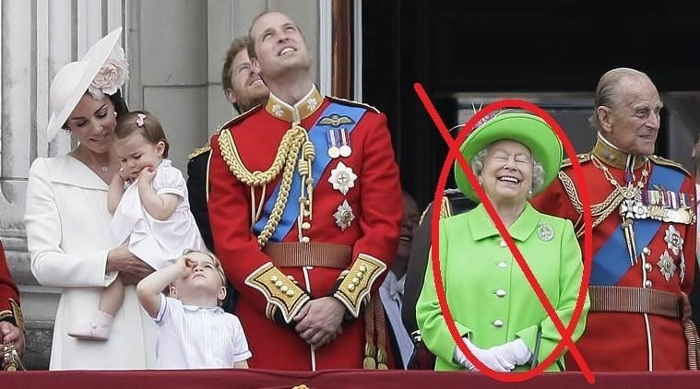 Queen Elizabeth wearing a green outfit